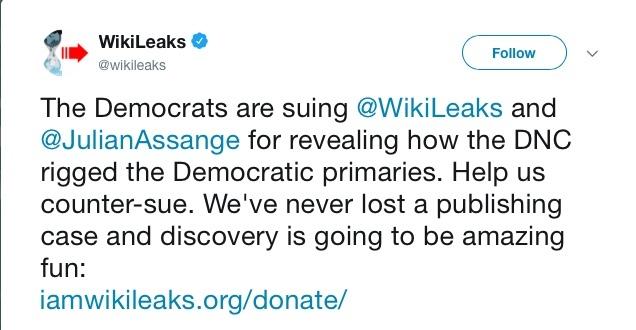 DNC Serves WikiLeaks with Lawsuit via Twitter — Justia News